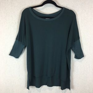 Chaser Ribbed Shirt Size Small Green 3/4 Sleeve